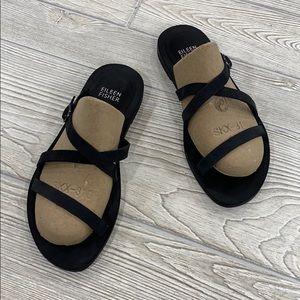 Eileen Fisher Black Strappy Dali Slide Sandals